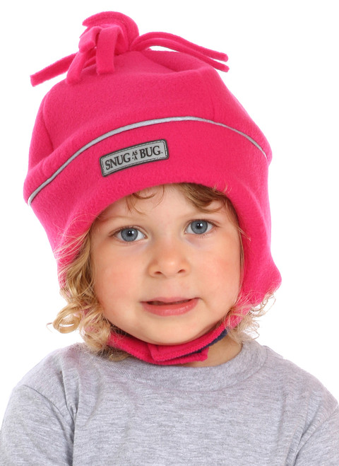 Fuchsia Reflective Winter Hat || Sophie, 3 yrs old is wearing size 2-4