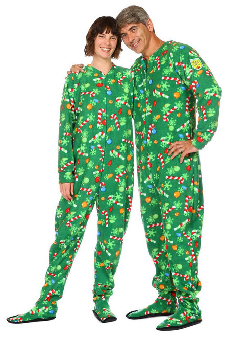 "Candy Cane Christmas Adult Footed Onesie || Sarah, 5'8"" Wearing Medium Pajama <br/> George, 6' Wearing Large Pajama"