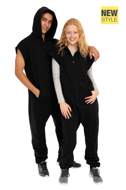 "Onyx Black Sleeveless Jumpsuit || Noah 6'0"" is wearing size Large <br/> Morris 5'8"" is wearing size Medium"