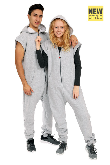 "Silver Grey Sleeveless Jumpsuit || Noah 6'0"" is wearing size Large <br/> Morris 5'8"" is wearing size Medium"