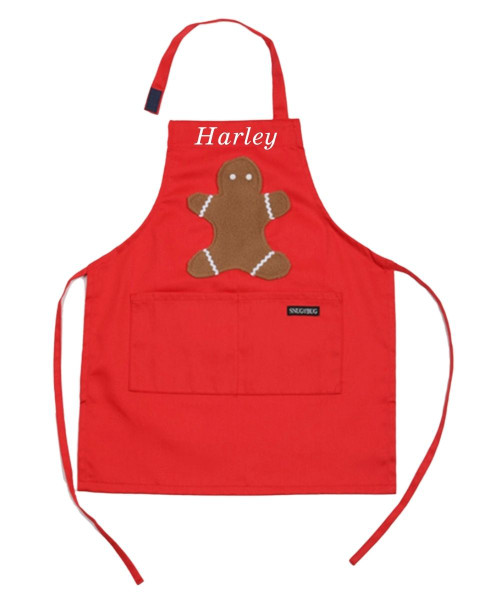Snug As A Bug kids apron, red with gingerbread man appliqué
