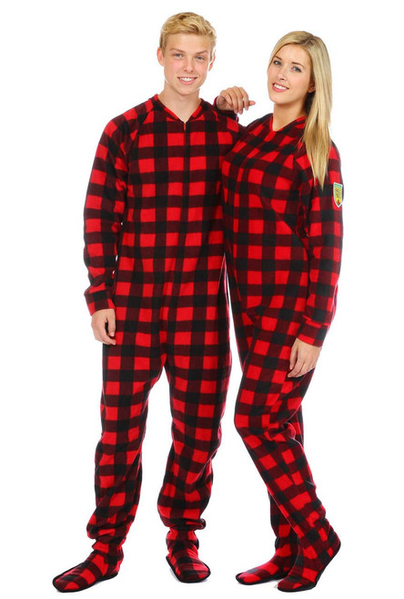 Canada Plaid Adult Footed Pajama