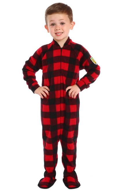 Canada Plaid Little Kids Footed Pajamas