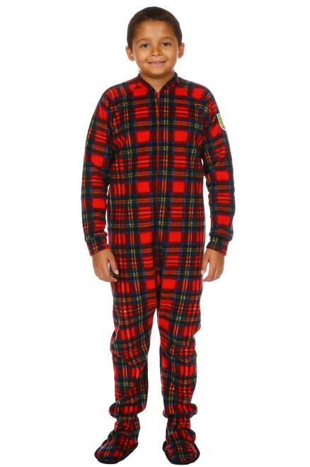 Christmas Plaid Big Kids Footed Pajama