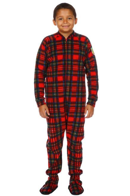 Christmas Plaid Big Kids Footed Pajama