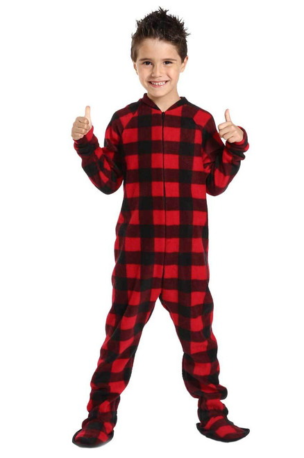 Canada Plaid Big Kids Footed Pajama
