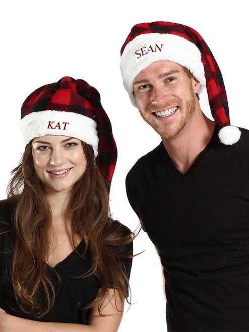 Adult Canada Plaid Adjustable Santa Hat