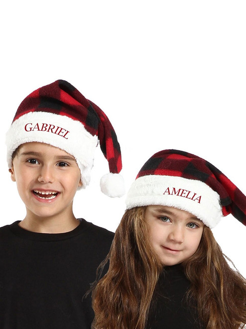 Kid's Canada Plaid Adjustable Santa Hat