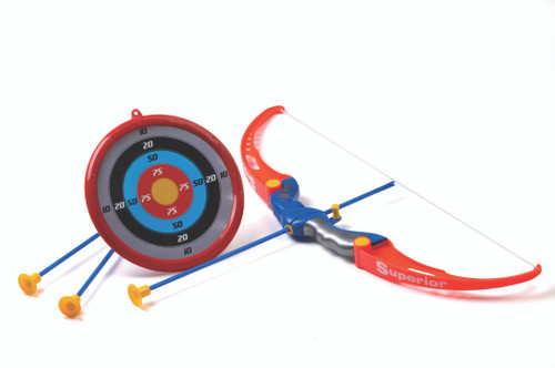 Child safe archery set bow with suction tipped arrows and target