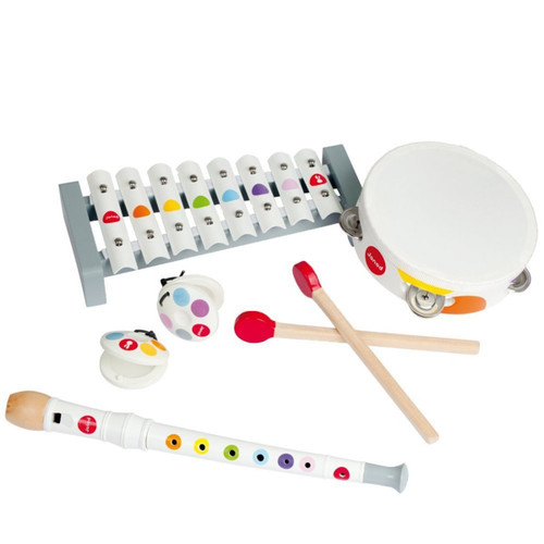 Janod musical set: xylophone, recorder, tambourine, maracas, drumsticks