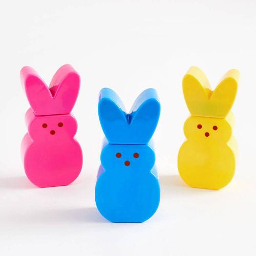 Peeps bunny shaped bubble solution, 3 bottles, pink, blue and yellow