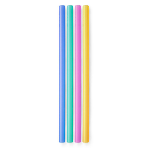 4 different coloured silicone straws side by side