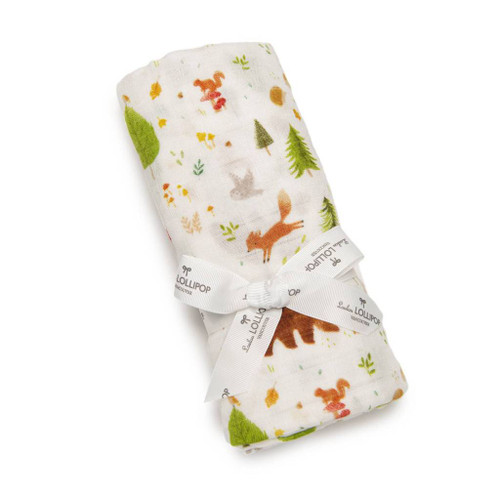 Loulou Lollipop Muslin Swaddle-Forest Friends
