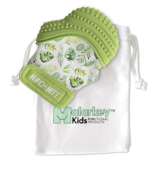 Munch Mitt teether tropical green print