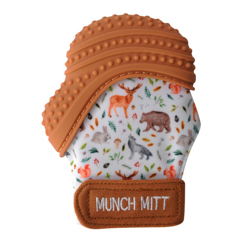 Munch Mitt teether woodland animals print