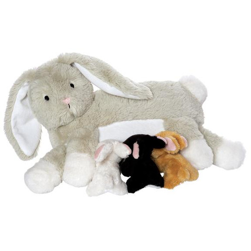 Manhattan Toys Nola Nursing rabbit plush with 3 kits