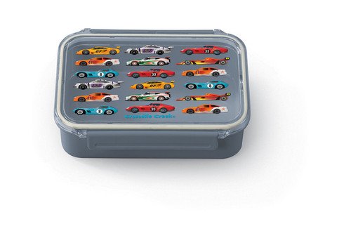 Crocodile Creek Bento Box, Race Cars, grey