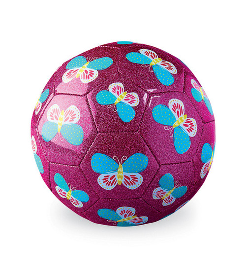 Crocodile Creek Soccer Ball, Butterfly, fuschia glitter