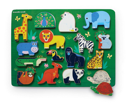 Crocodile Creek Let's Play 16 pc. puzzle playset Zoo