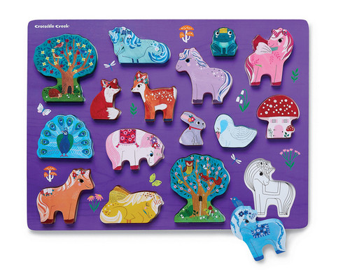 Crocodile Creek Let's Play 16 Pc. puzzle playset Unicorn Garden