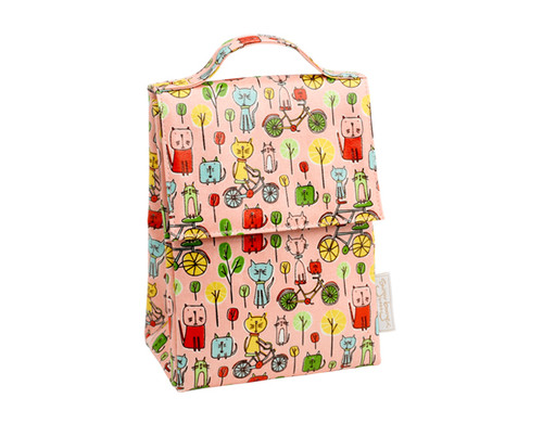 Sugarbooger Classic Lunch Sack, Go Kitty Go, pink