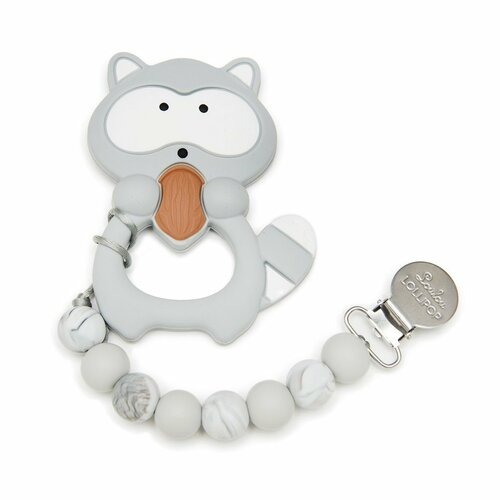 Silicone Teether & Clip-Raccoon