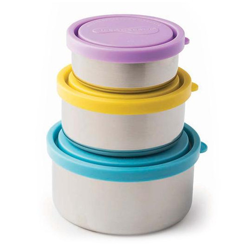 U Konserve stacking trio, 3 graduated stainless containers with coloured lids