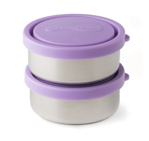 U Konserve two small stainless containers with lavender lids