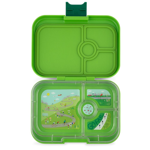 yumbox panino 4 section bento box for kids, go green colour, shown open and empty