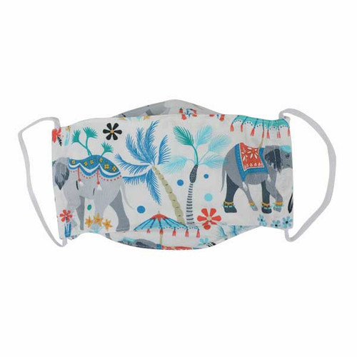 Adult cloth mask, pale grey with colourful elephant print