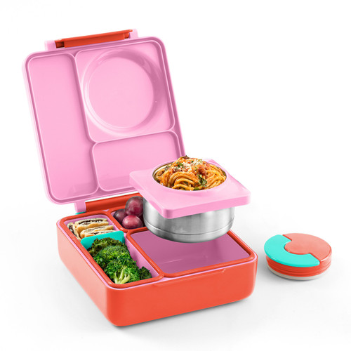 omiebox kids bento box, pink berry colour, shown filled with lunch