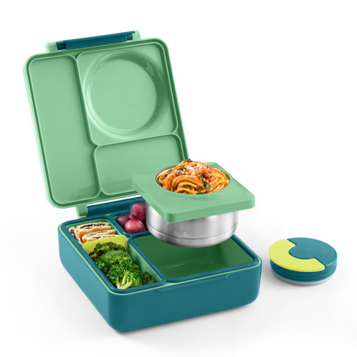 omiebox kids bento box, meadow colour, shown packed with lunch