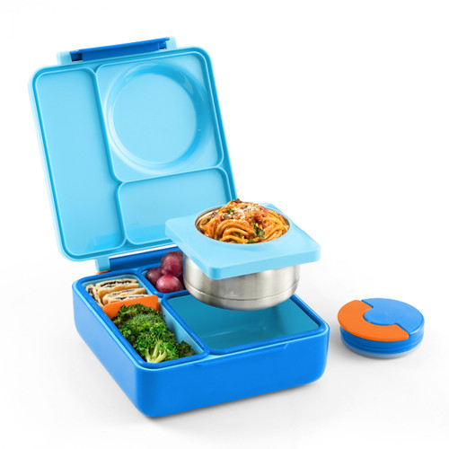 Omiebox kids bento box, blue sky colour, shown open and filled with lunch