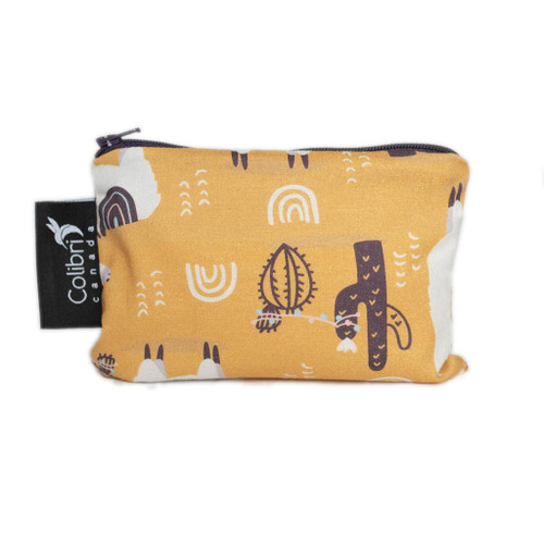 Colibri small snack bag, yellow with llama print