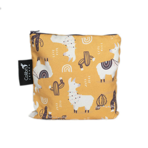 Colibri large snack bag, yellow with llama print