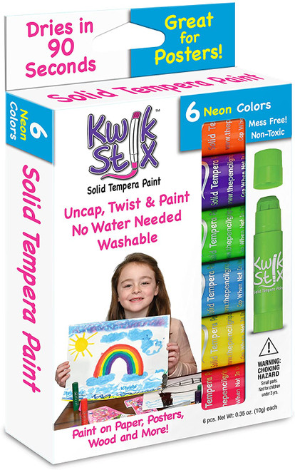 Kwik Stix tempera paint sticks, 6 neon colours in box