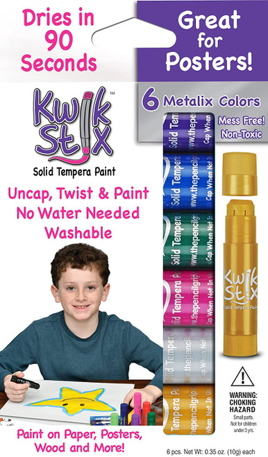 Kwik stix tempera paint sticks, 6 metallic colours in box