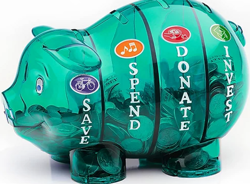 Money Savvy Pig kids saving bank, green