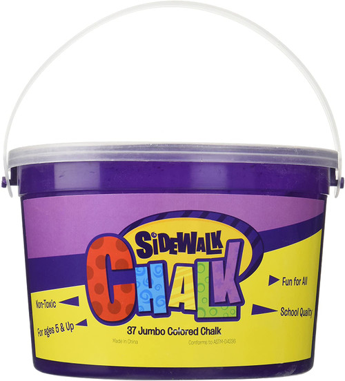 Jumbo sidewalk chalk 37 pieces in a bucket