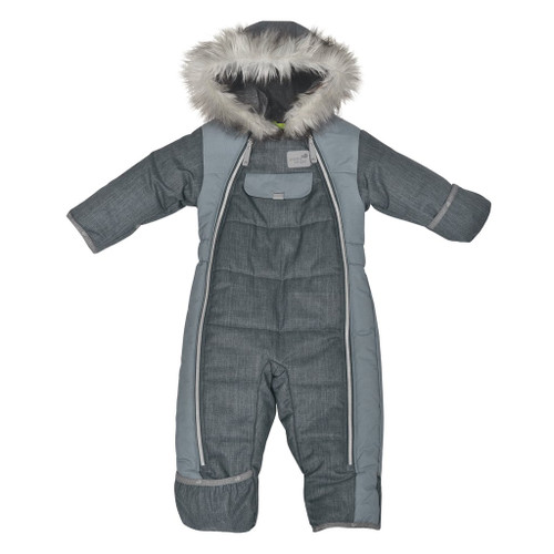 Perlimpinpin one piece snowsuit, grey chevron fabric, faux fur trim