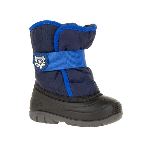Kamik snowbuster kids winter boot, navy, viewed from side