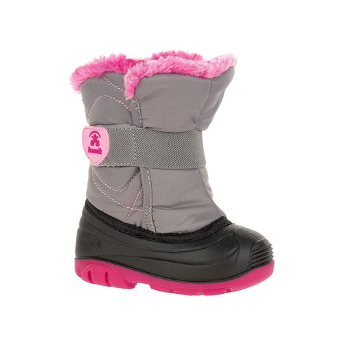 Kamik SnowbugF grey/pink viewed from side