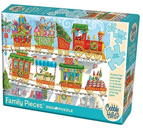 "Cobble Hill 350 piece family puzzle "" Christmas Train"" box shown"
