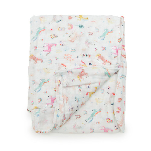 Loulou Lollipop Muslin Swaddle-Unicorn Dream