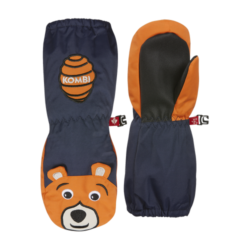 "Kombi Animal Family Mittens navy and orange ""Benji the Bear"""
