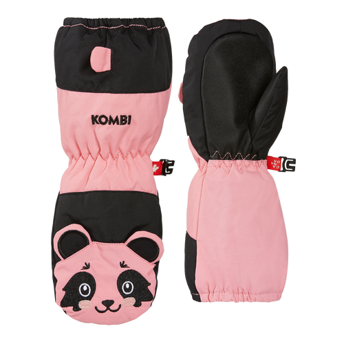 "Kombi Animal Family mitts, light pink and black, ""Poppy the Panda"""