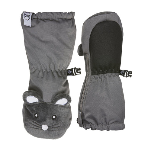 Kombi Sherpa animal infant mitts grey mouse