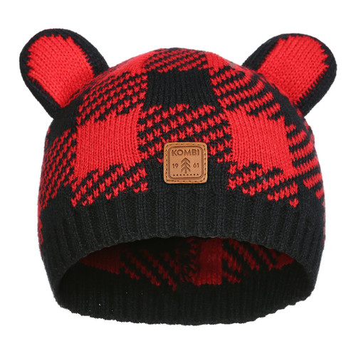 Kombie Cutie infant hat red buffalo plaid