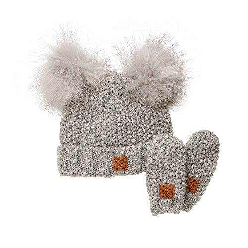Kombi Adorable set light heather grey infant hat and mitts