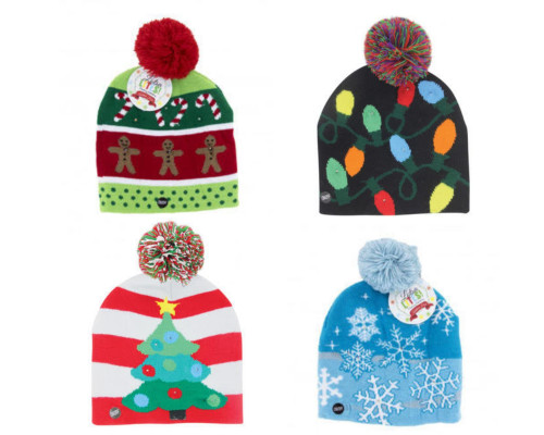 Assortment of Light up adult winter holiday toques